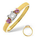 18K Yellow Gold 0.15Ct Diamond, Pink Sapphire Ring From Catalina Diamonds L1819