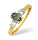 18K Yellow Gold 0.2Ct Diamond, Green Sapphire Ring From Catalina Diamonds L1663