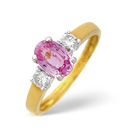 18K Yellow Gold 0.2Ct Diamond, Pink Sapphire Ring From Catalina Diamonds L1664