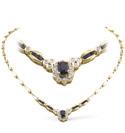 9K Yellow Gold 0.33Ct Diamond, Sapphire Necklace From Catalina Diamonds B1088