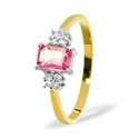 0.06CT Diamond, Pink Sapphire Ring 9K Yellow Gold from Catalina Diamonds Y2048
