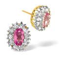 0.3CT Diamond, Pink Sapphire Earrings 9K Yellow Gold from Catalina Diamonds Z1440