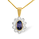0.1CT Diamond, Tanzanite Pendant 9K Yellow Gold from Catalina Diamonds Z1437