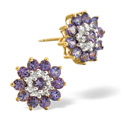 0.13CT Diamond, Tanzanite Earrings 9K Yellow Gold from Catalina Diamonds F2230