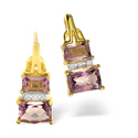 0.04CT Diamond, Amethyst Earrings 9K Yellow Gold from Catalina Diamonds F2223