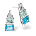 0.04CT Diamond, Blue Topaz Earrings 9K White Gold from Catalina Diamonds F2218