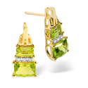 0.04CT Diamond, Peridot Earrings 9K Yellow Gold from Catalina Diamonds F2224