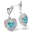 0.07CT Diamond, Blue Topaz Earrings 9K White Gold from Catalina Diamonds F2225
