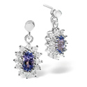 0.25CT Diamond, Tanzanite Earrings 9K White Gold from Catalina Diamonds F2228