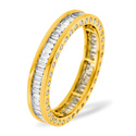 1CT H/SI Diamond Baguettes and Rounds Sides Full Eternity Ring 18K Yellow Gold from Catalina Diamonds FE06-100HSY