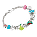 D For Diamond Silver Eleven Charms Bracelet For Girls B3304