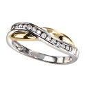 9K Two tone gold Diamond ring GR255 from Elements Gold