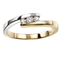 9K Two tone gold Diamond ring GR258 from Elements Gold