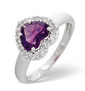 9K White Gold 0.1Ct Diamond, Amethyst Ring From Catalina Diamonds C2621